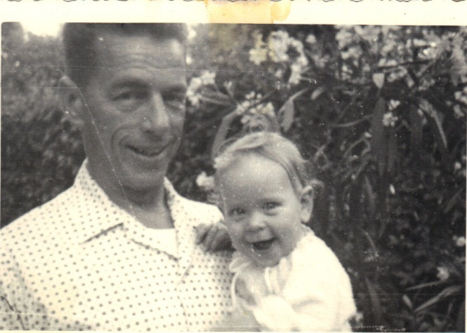 1960-07 July - Dad and Me in the garden in Tirrenia