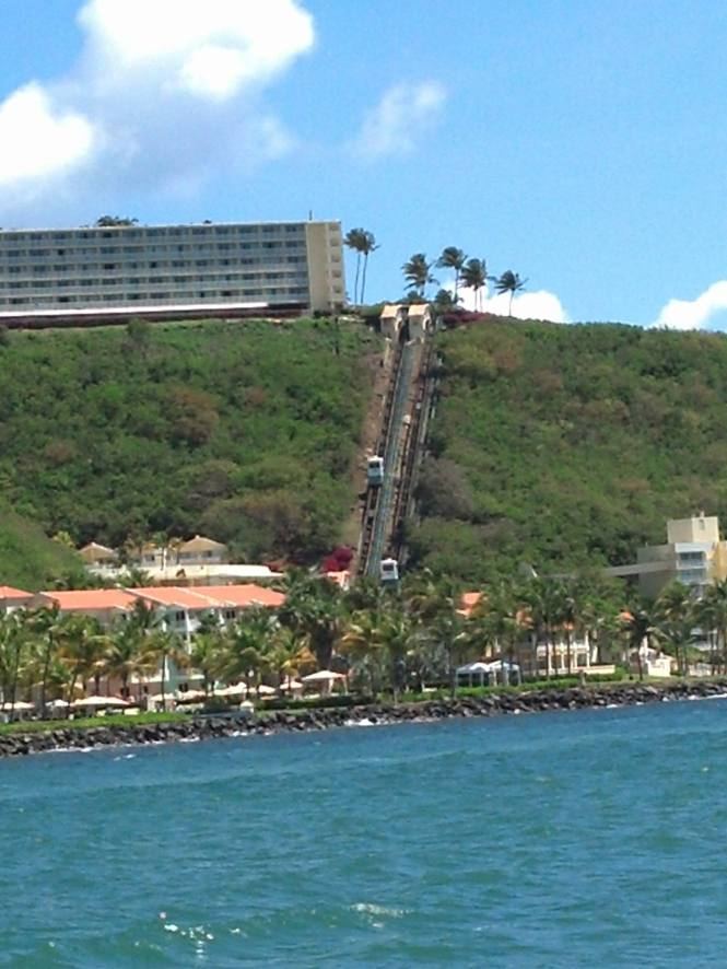 Passing a hillside resort with a funicular!