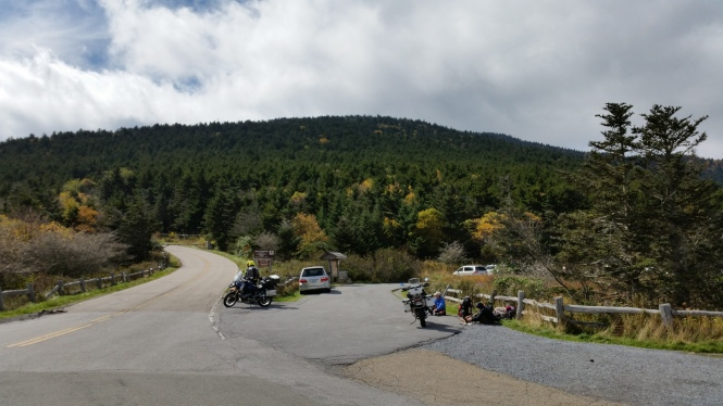Roan Mountain parking lot on a cold October day