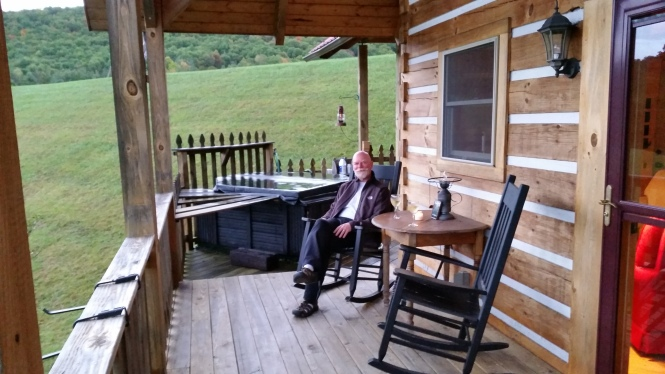 The hub, enjoying a glass of wine on the deck