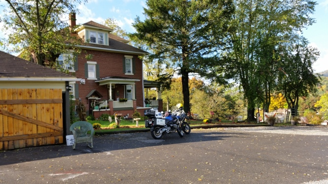 Our bikes in front of the Locust Hill Inn