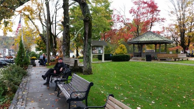 Hub sitting in the city park before dinner