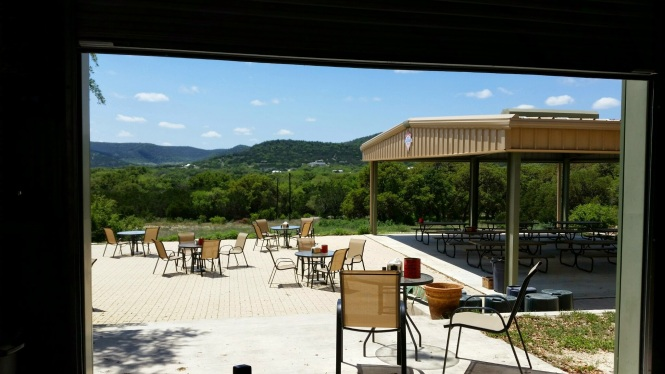 Outside seating and view