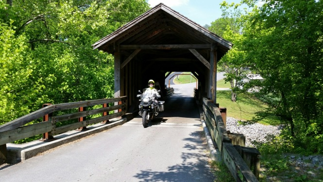Jerry emerging from the Harrisburg Covered Bridge near Sevierville