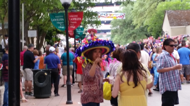 Big, creative hats are another Fiesta tradition!