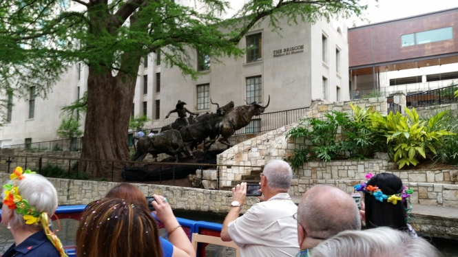 A bronze outside the Briscoe Western Art museum on the Riverwalk