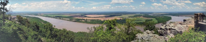 Panoramic view of the overflowing Arkansas river and the surrounding valley