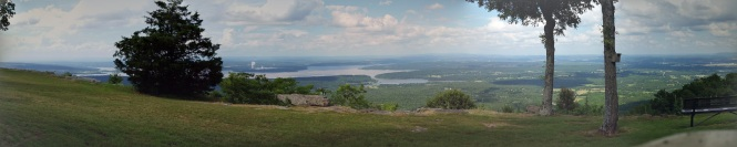 panoramic view of the Arkansas river valley from Mount Nebo