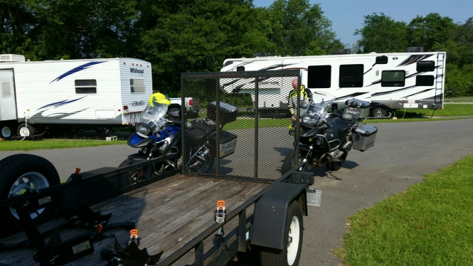 Bikes released from the trailer and ready for a ride!