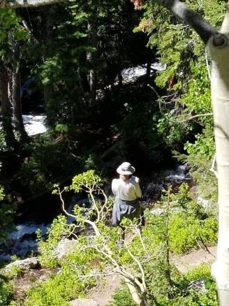 Lisa down below the trail