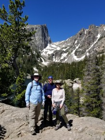 Jerry, Reed, and Lisa overlooking Dream Lake